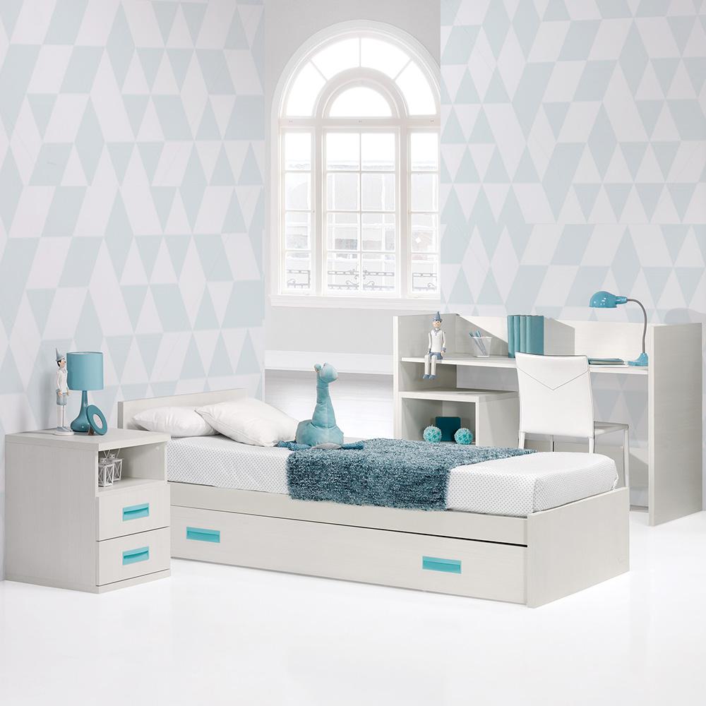 0009 Combi Deco [blanco Zen Aqua Marina] (cama Y Armario)