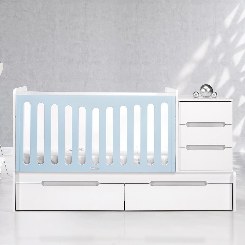 0022 Combi Design [blanco Mate Plata Mate] (cuna Lateral Azul Bebé)