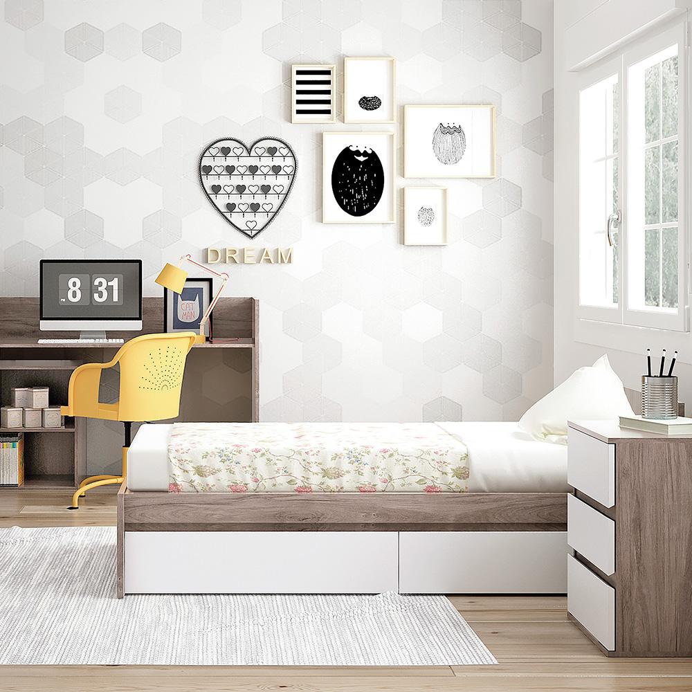 0056 Combi Cool [acacia Blanco Mate] (cama Y Armario)